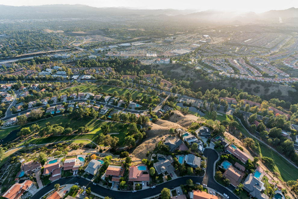 Aerial View of Porter Ranch CA