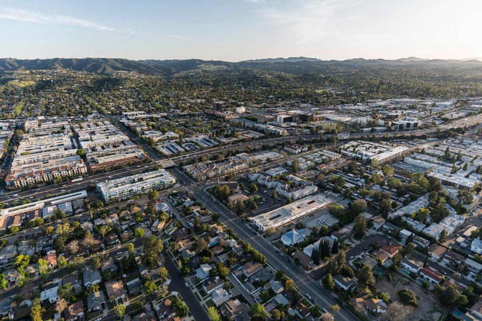 Aerial View of Tarzana CA